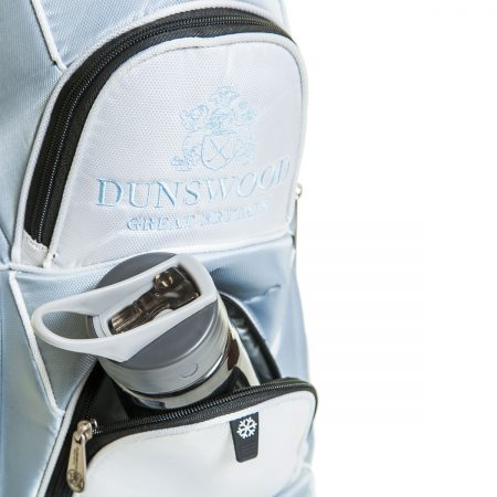 Pocket detail of the Knight Cart Bag with a water bottle